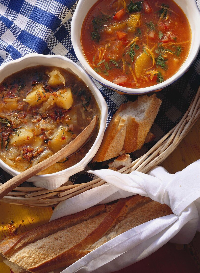 Tomato and orange soup and onion soup with diced bacon