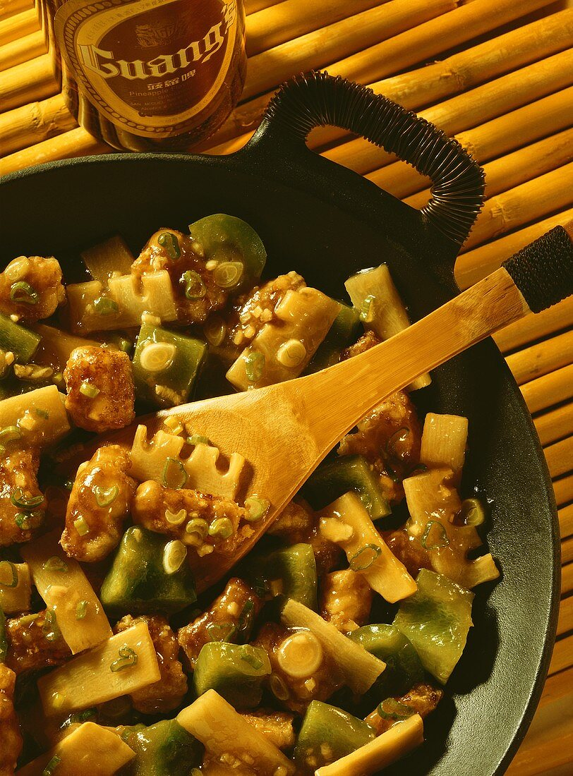 Sweet and sour pork with bamboo sprouts