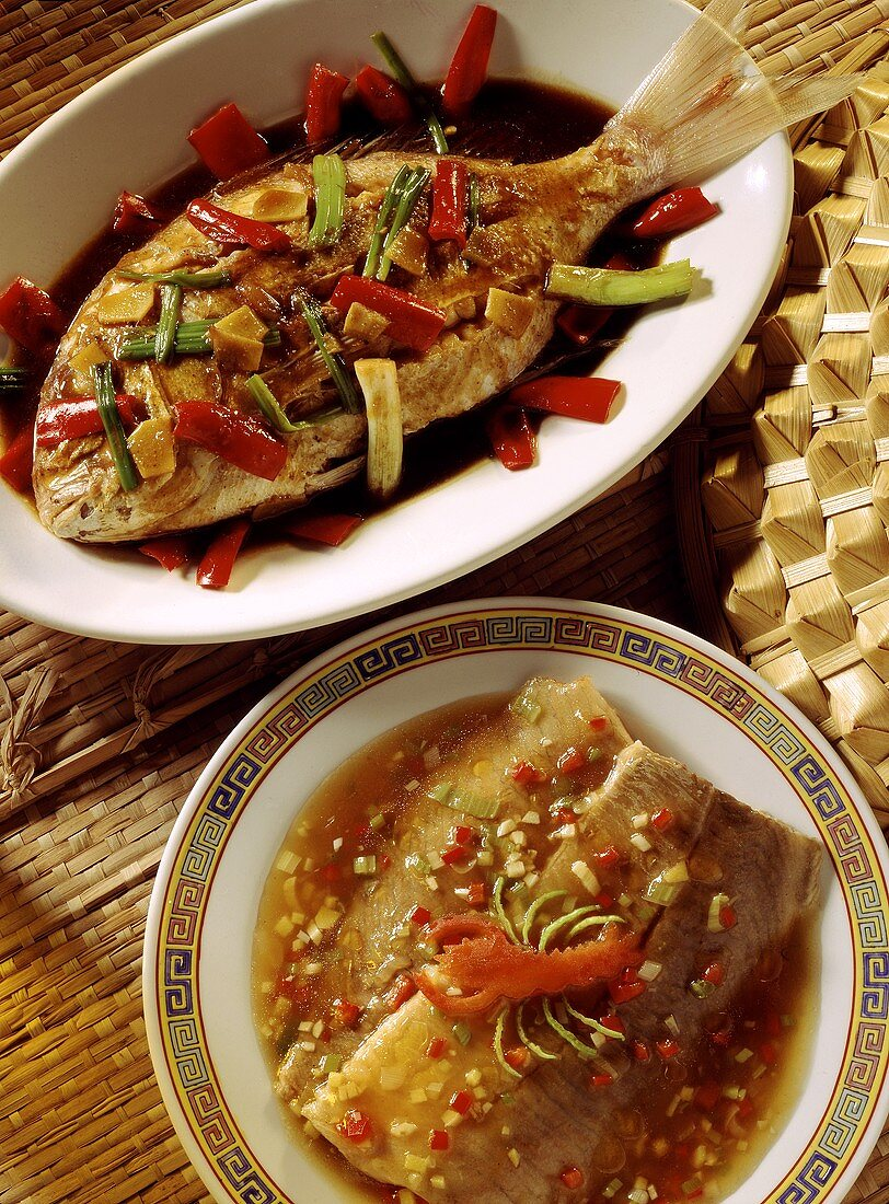 Sea bream in soy sauce and sweet & sour carp fillets