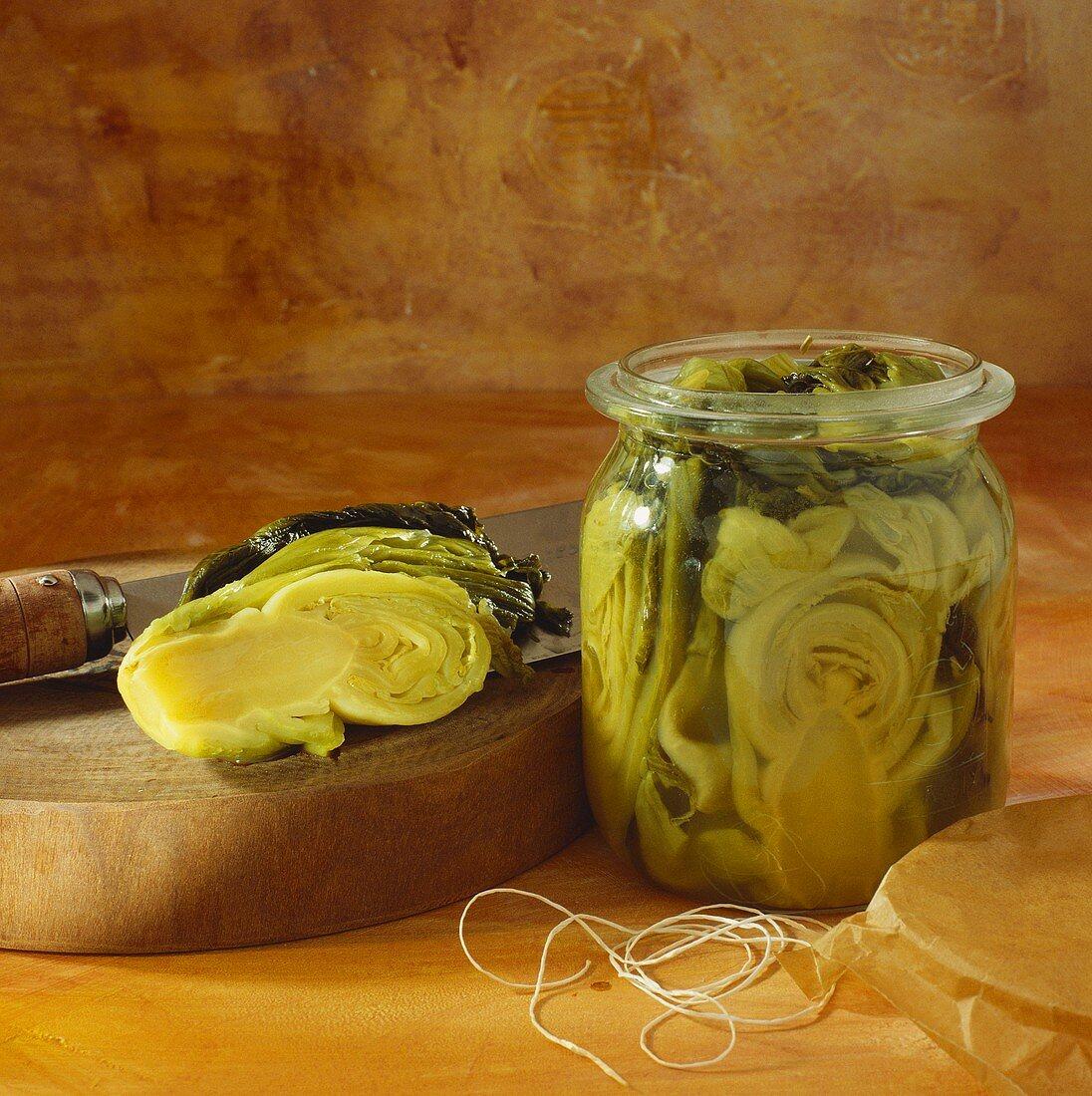Chinese sauerkraut (pickled Chinese cabbage) in jar