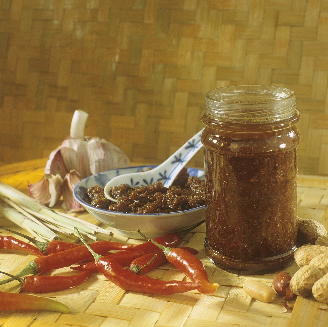 Spicy Chinese sauce (Sha-Cha sauce) in jar and bowl