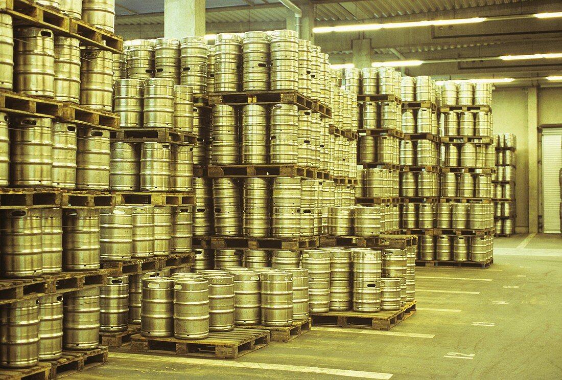 Barrel store (beer barrels) at brewery