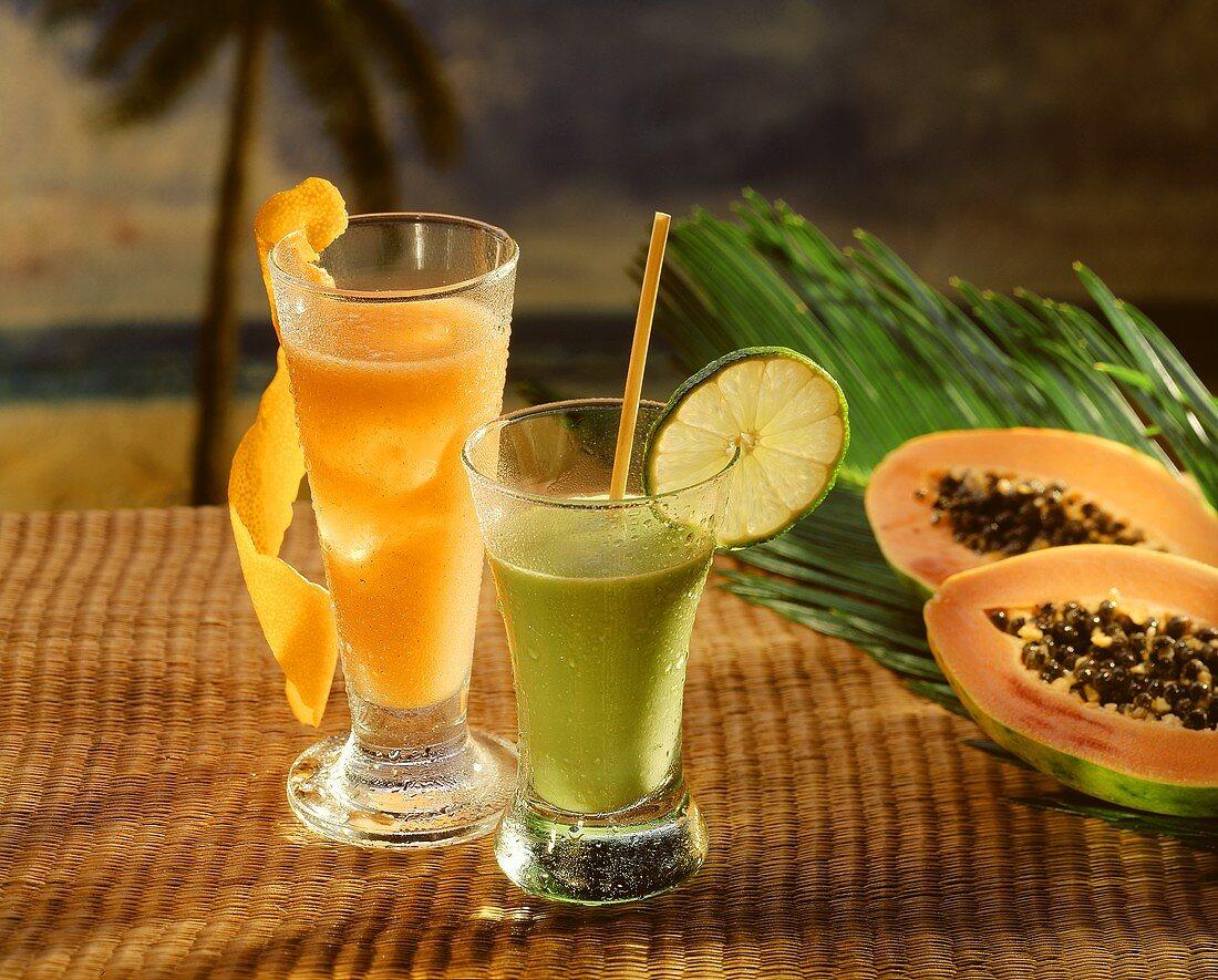 Papaya & orange cocktail & avocado cocktail with milk & lime