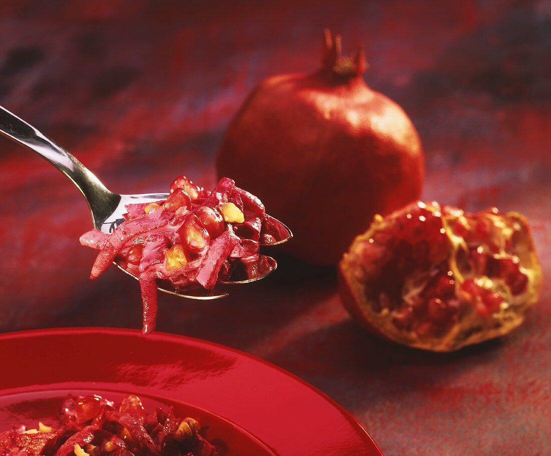 Beetroot salad with pomegranates & chopped walnuts