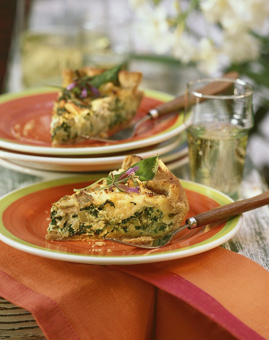 Chard quiche with cheese, pine nuts & sage flowers