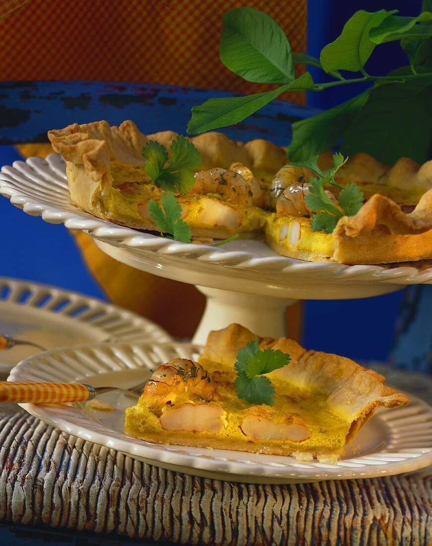 Shrimp quiche with curried cream & parsley leaves