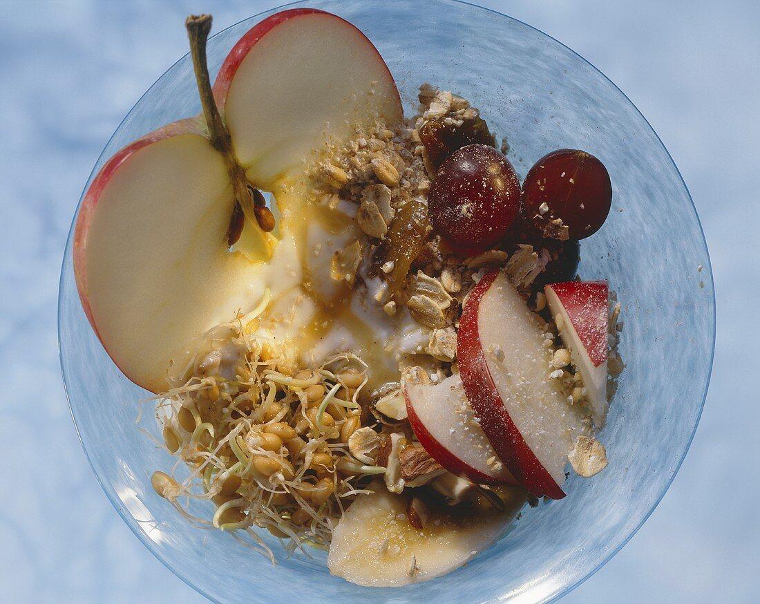 Fresh grain muesli with wheatgerm, hazelnuts, fruit & yoghurt