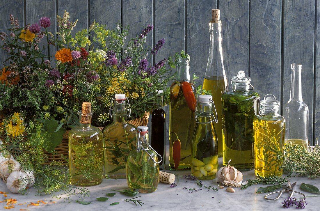 Several Bottles of Flavored Oil