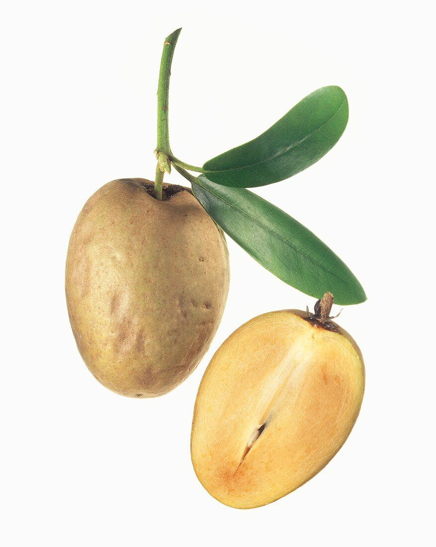 Whole and half sapodilla