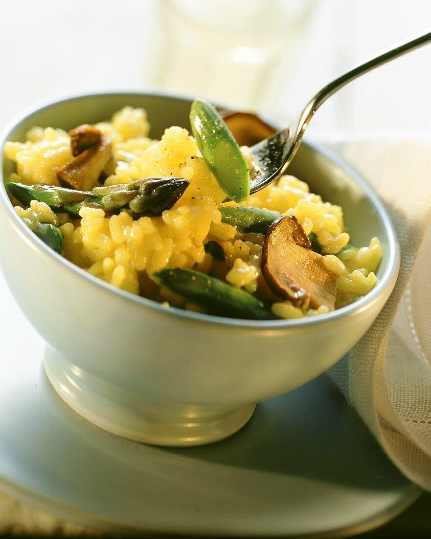 Risotto alla bresciana (risotto with asparagus & ceps)