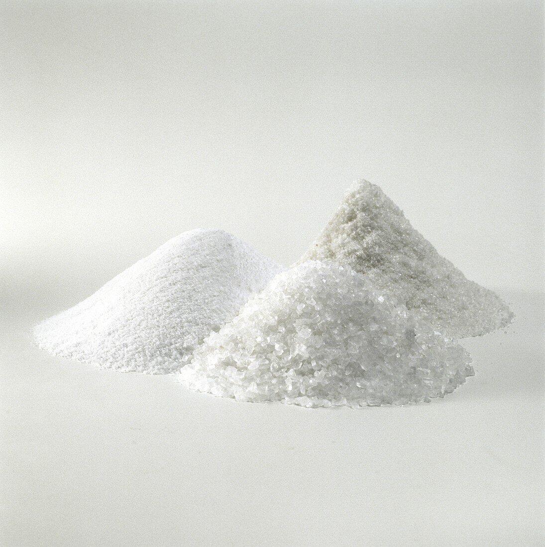Iodine salt, sea salt and coarse salt (a heap of each)