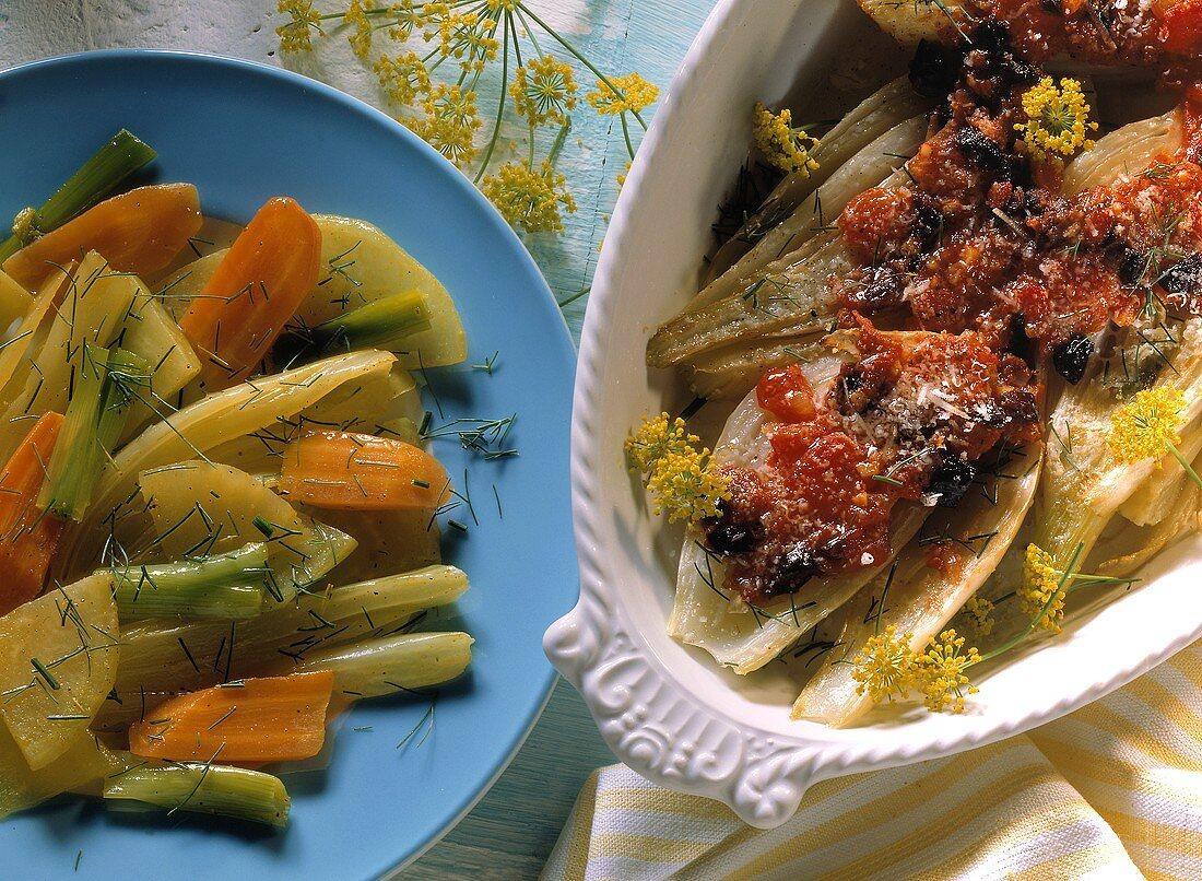 Saffron casserole; fennel with tomato & olive sauce & parmesan