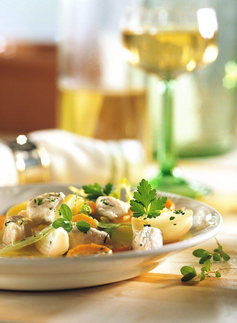 Stew (Bäckerofen)with turkey, potatoes, carrots & cabbage
