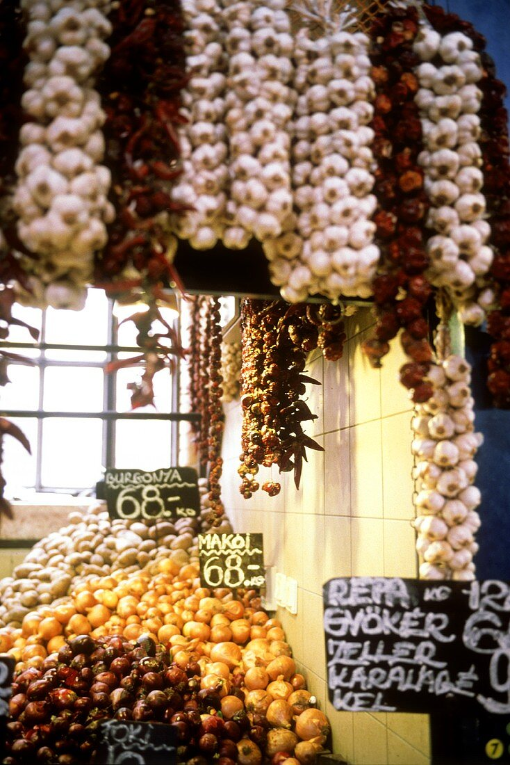 Garlic and onions on a market stall in Budapest