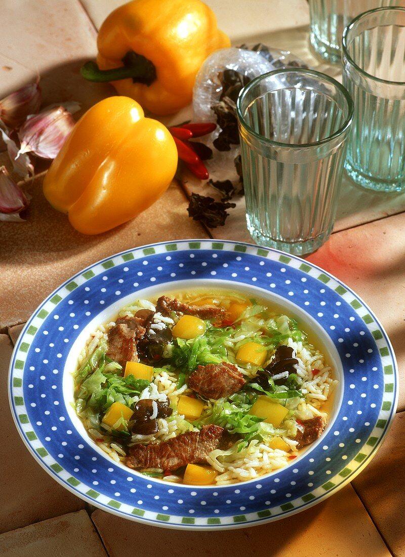 Lamb & savoy stew with rice, peppers & Mu-err mushrooms