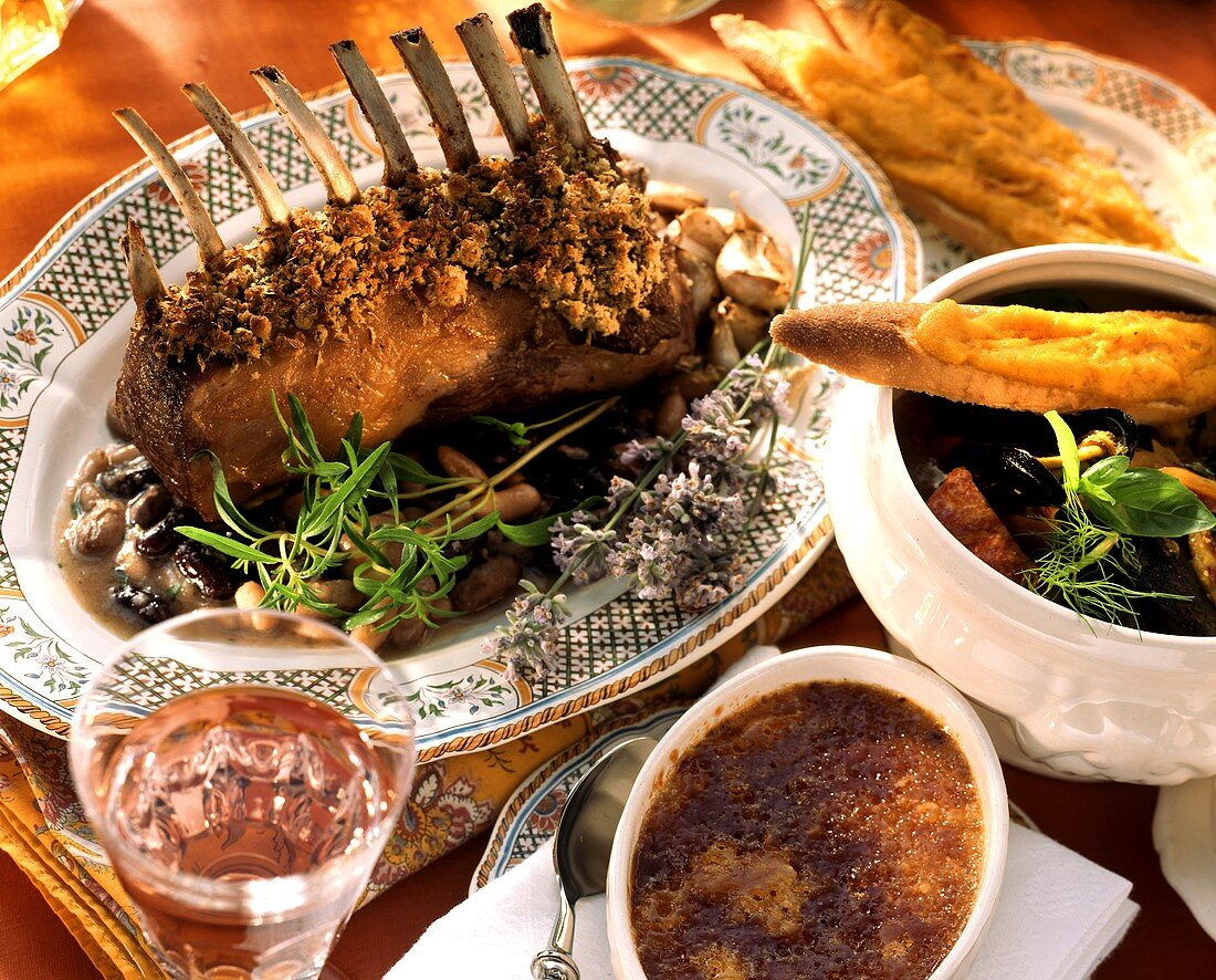 French menu with fish soup, rack of lamb, crème brulee