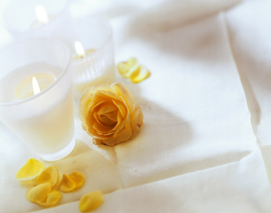 Burning candles and yellow rose on white table cloth