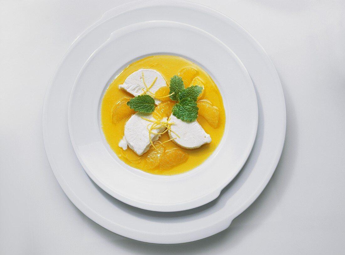 Vanilla Parfait with Orange Sauce