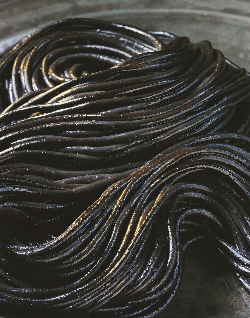 Black spaghetti, coloured with cuttlefish ink