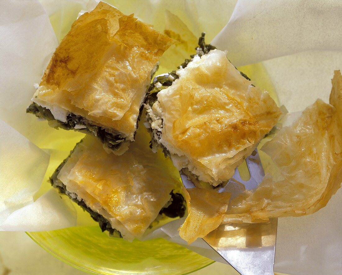 Tiropeta: filo pastry strudel with spinach & cheese filling