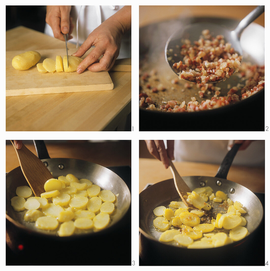 Preparing fried potatoes with bacon