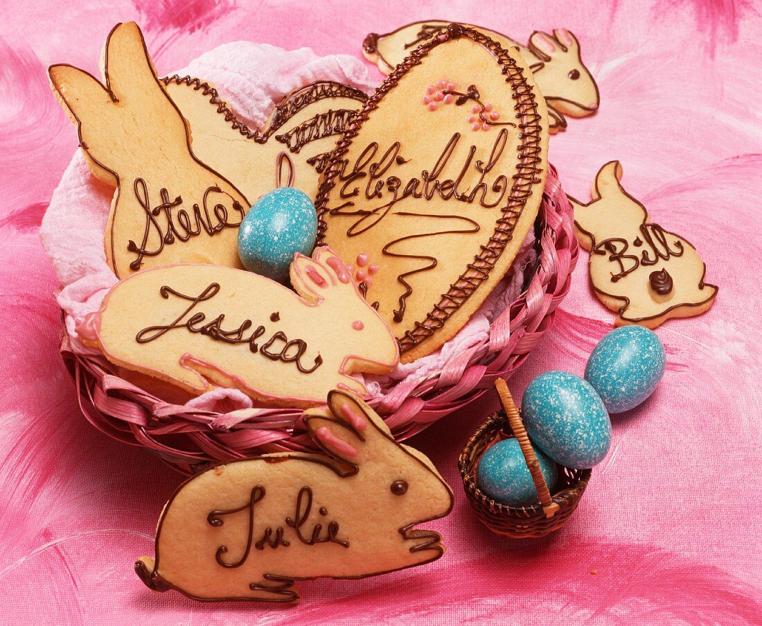 Easter bunny biscuits with chocolate names