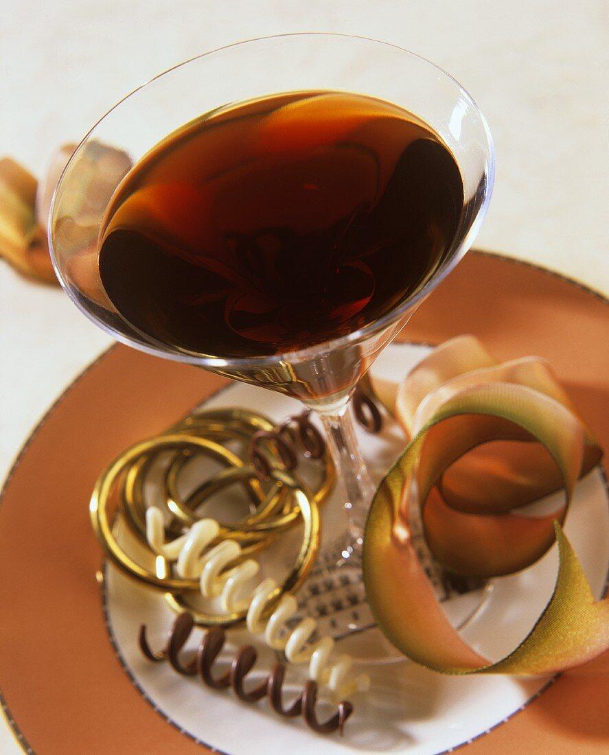 Chocolate martini with vodka and crème de cacao