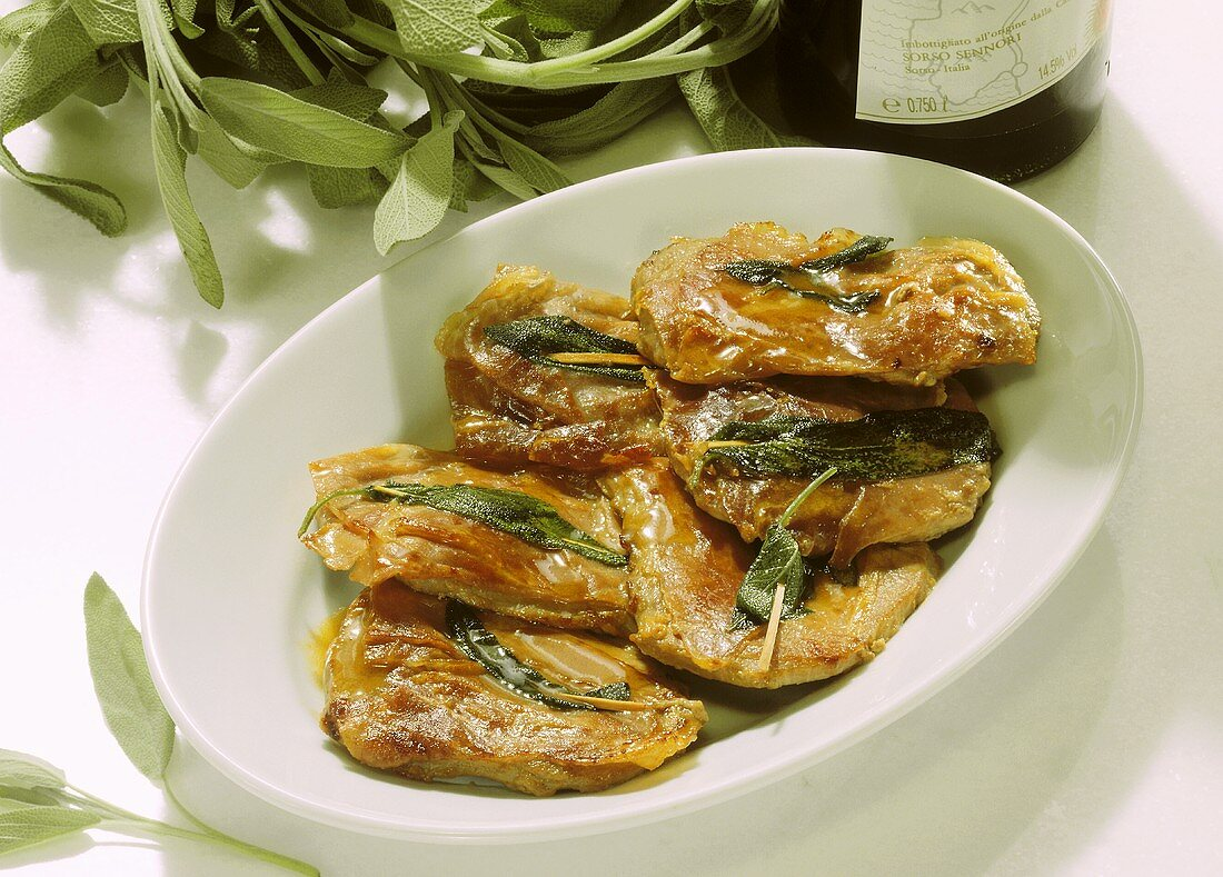 Saltimbocca alla romana (veal escalopes with sage), Italy