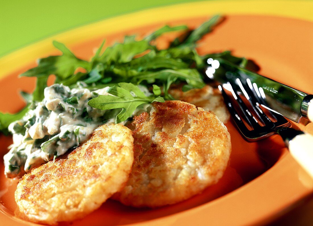Rosti with cheese mousse and rocket