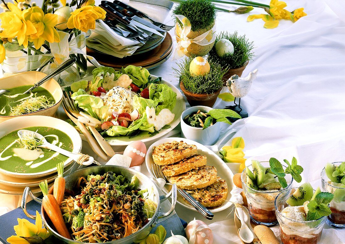Vegetarian Easter menu with wild garlic soup & millet cakes