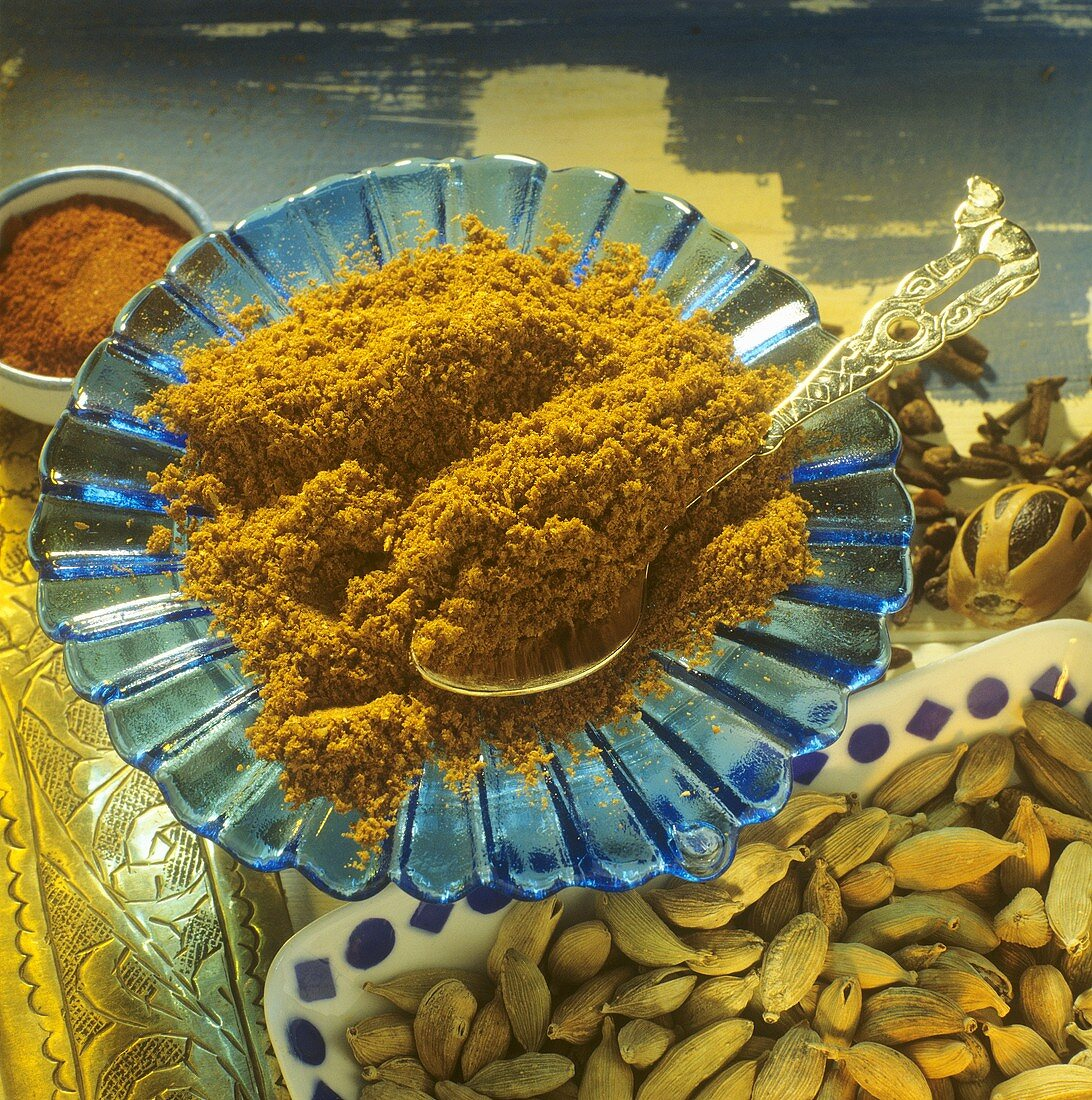 Baharat spice mixture on a blue plate