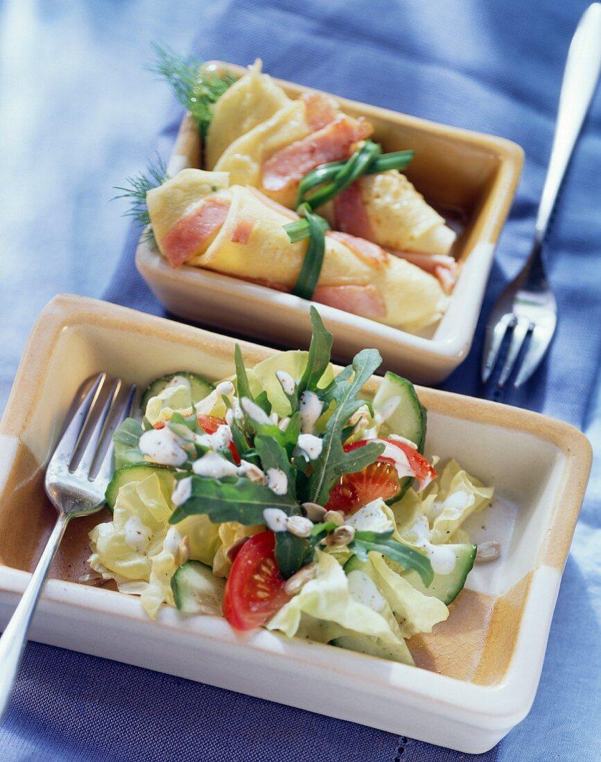 Lettuce; savoury pancake with ham & cheese