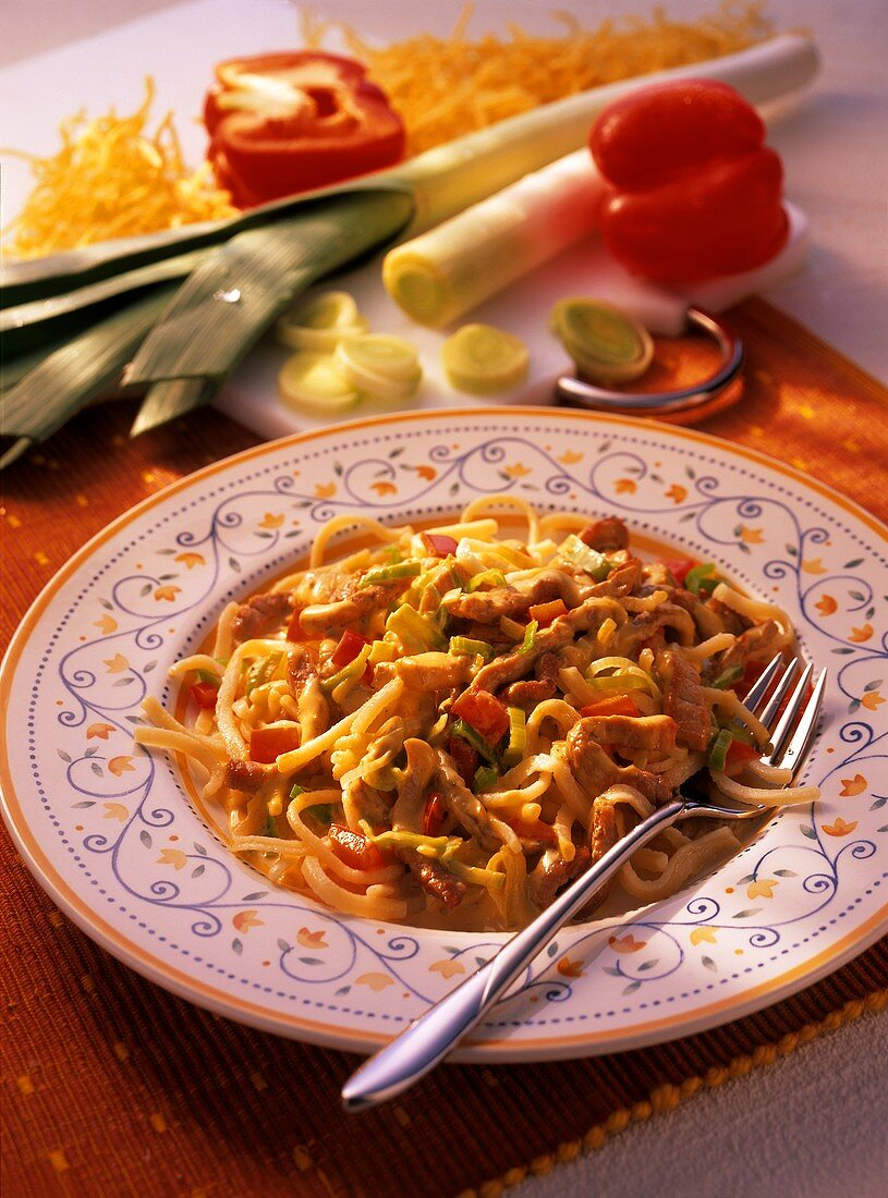 Home-made noodles with meat in cream sauce, peppers & leeks