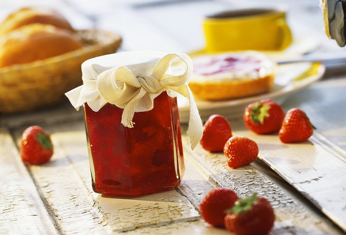 Strawberry and rhubarb preserve in jam jar