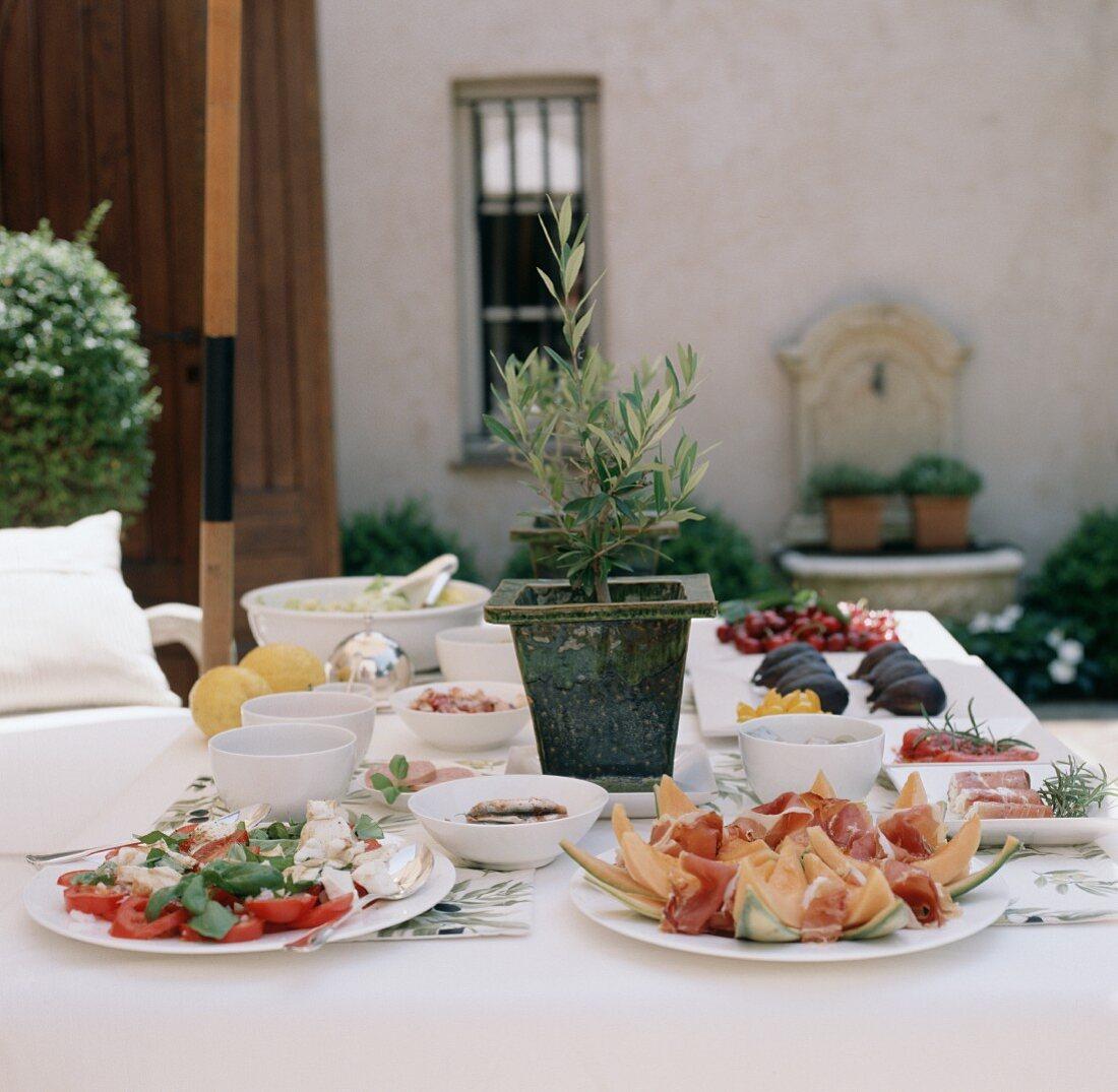 Italian appetiser buffet in open air