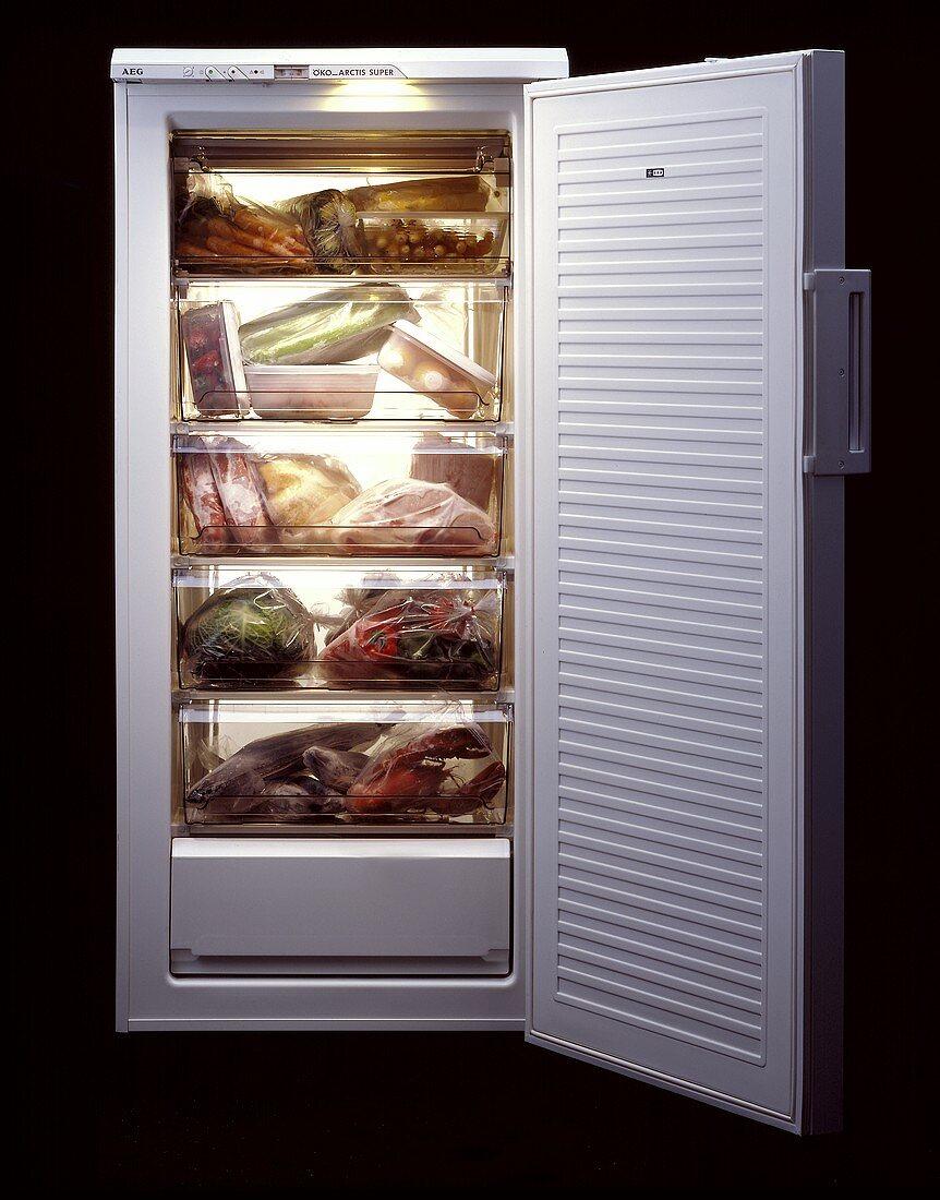 Vegetables, fruit, lobster etc in an AEG freezer