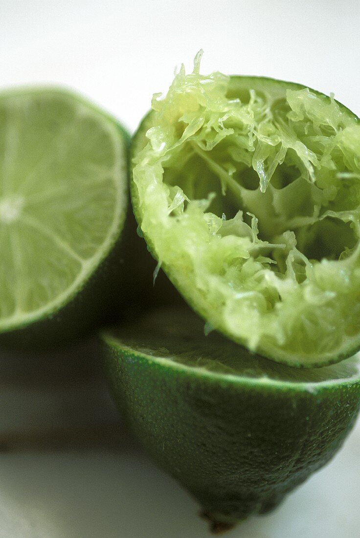 Lime Halves with One Squeezed