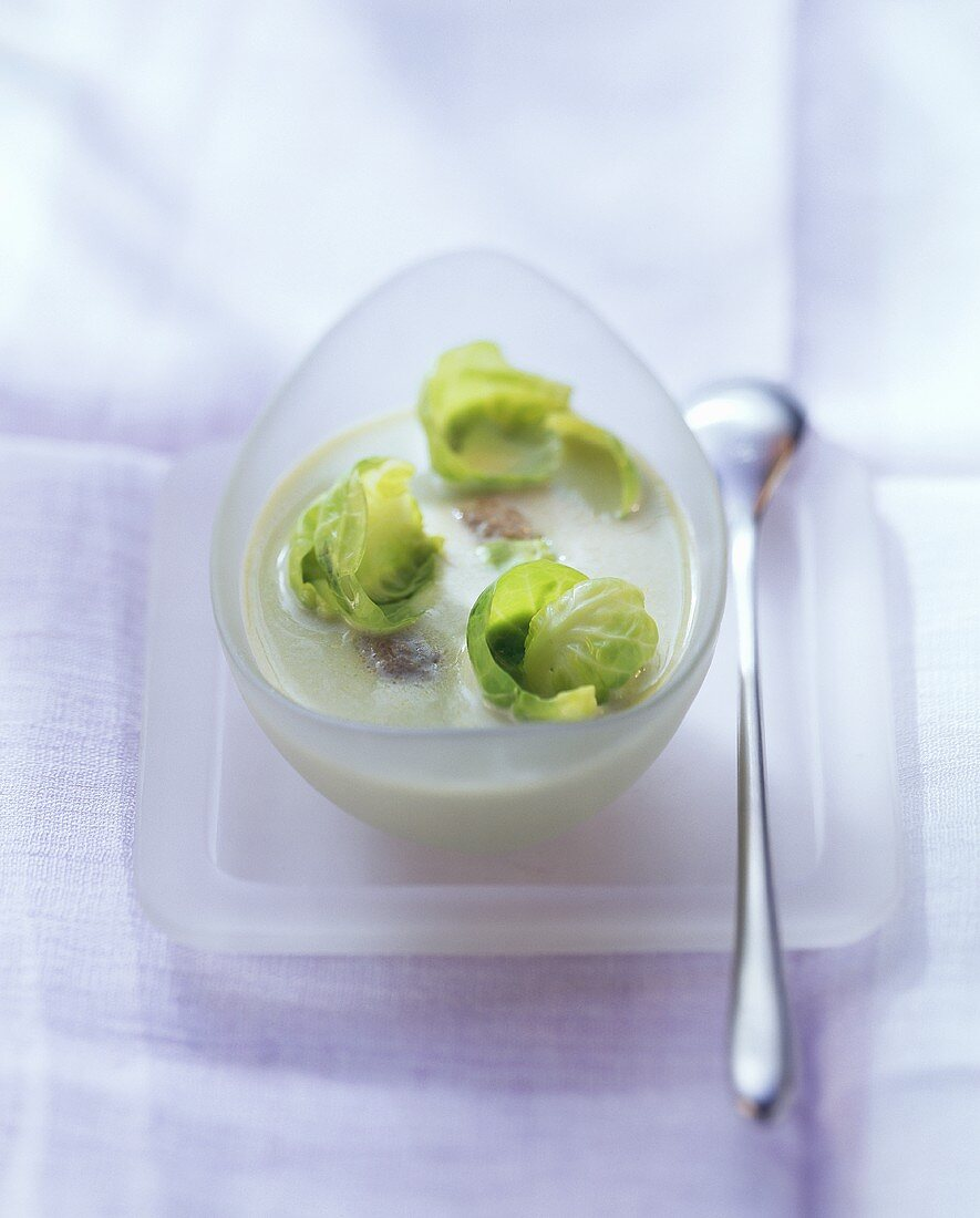 Cream of Brussels sprout soup with lamb meatballs