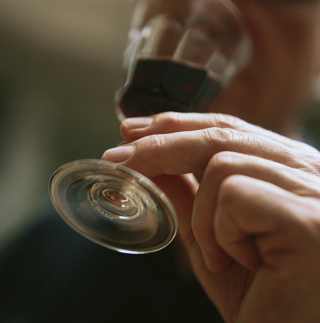 Hand lifting small red wine glass to mouth