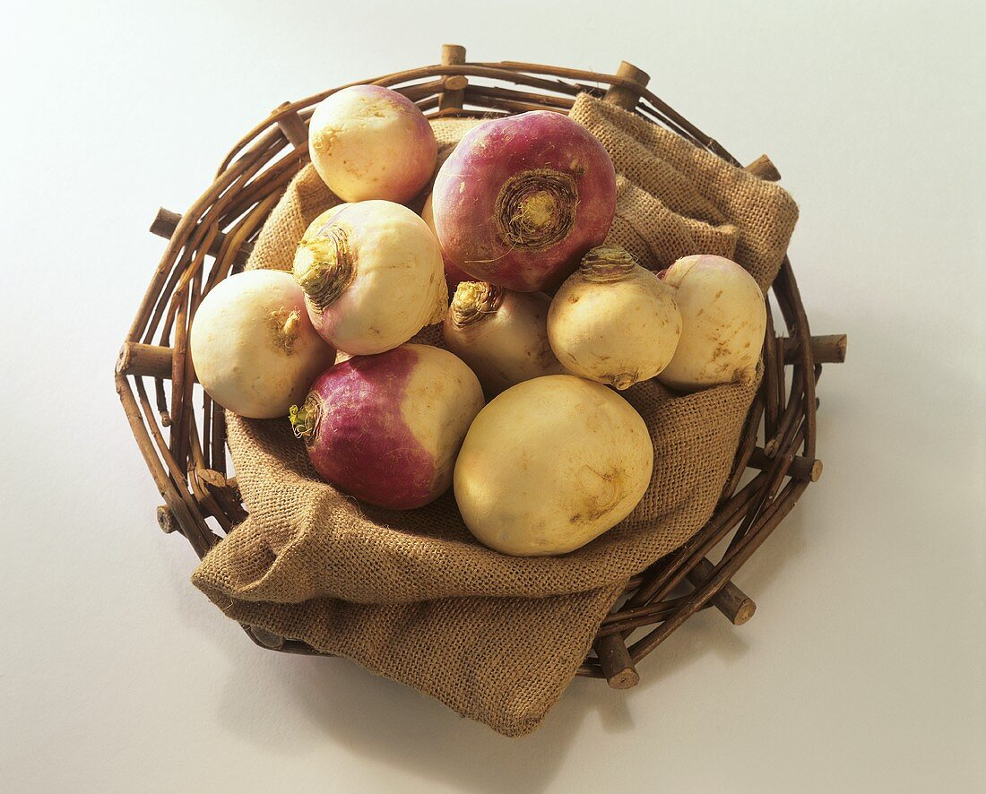 Turnips on jute in a basket