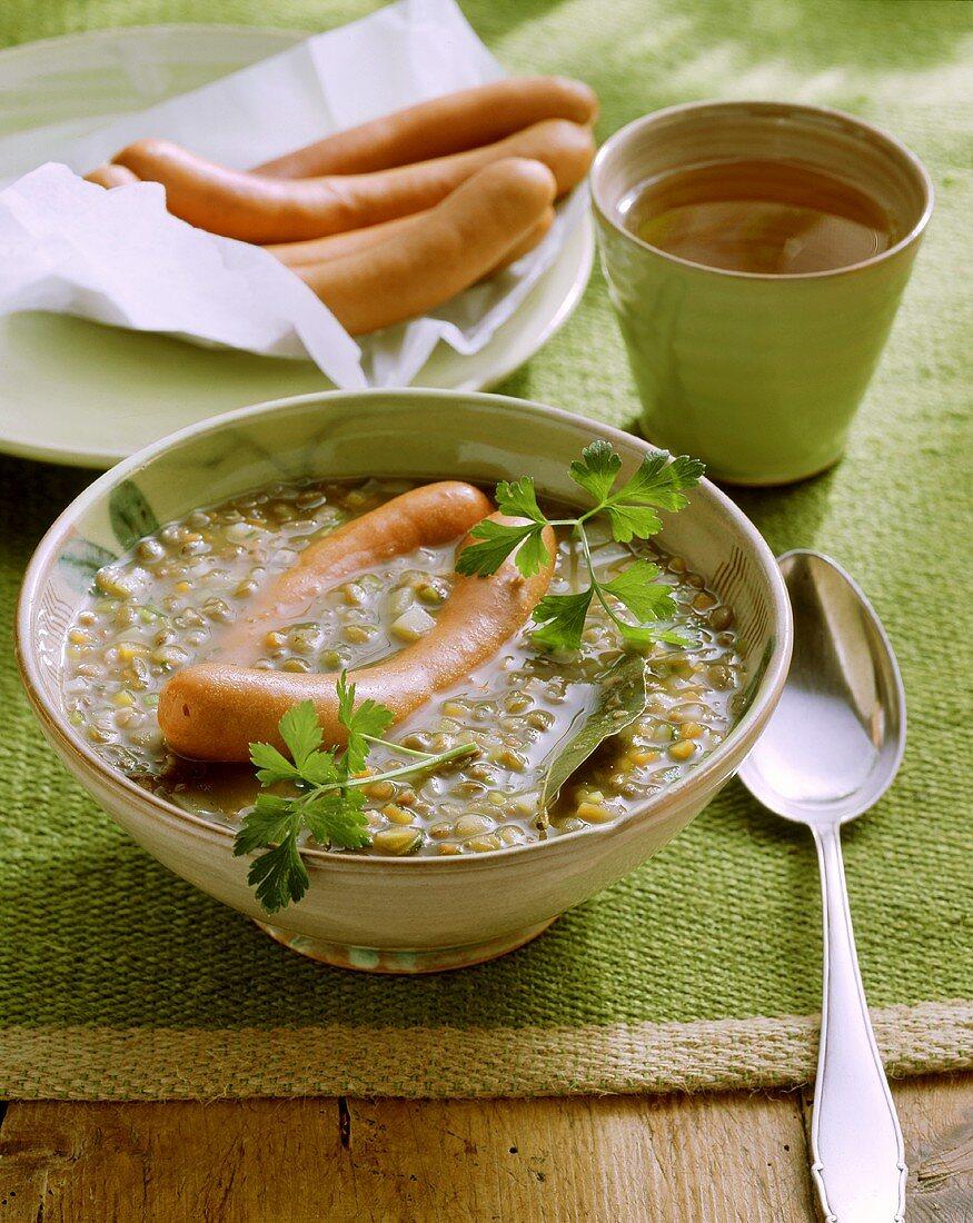 Lentil soup with Frankfurter sausages