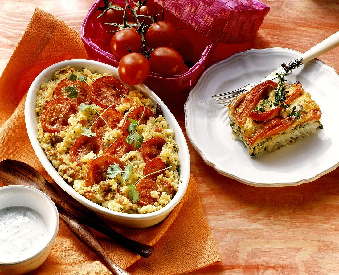 Tomato and couscous bake and pepper and red perch gratin