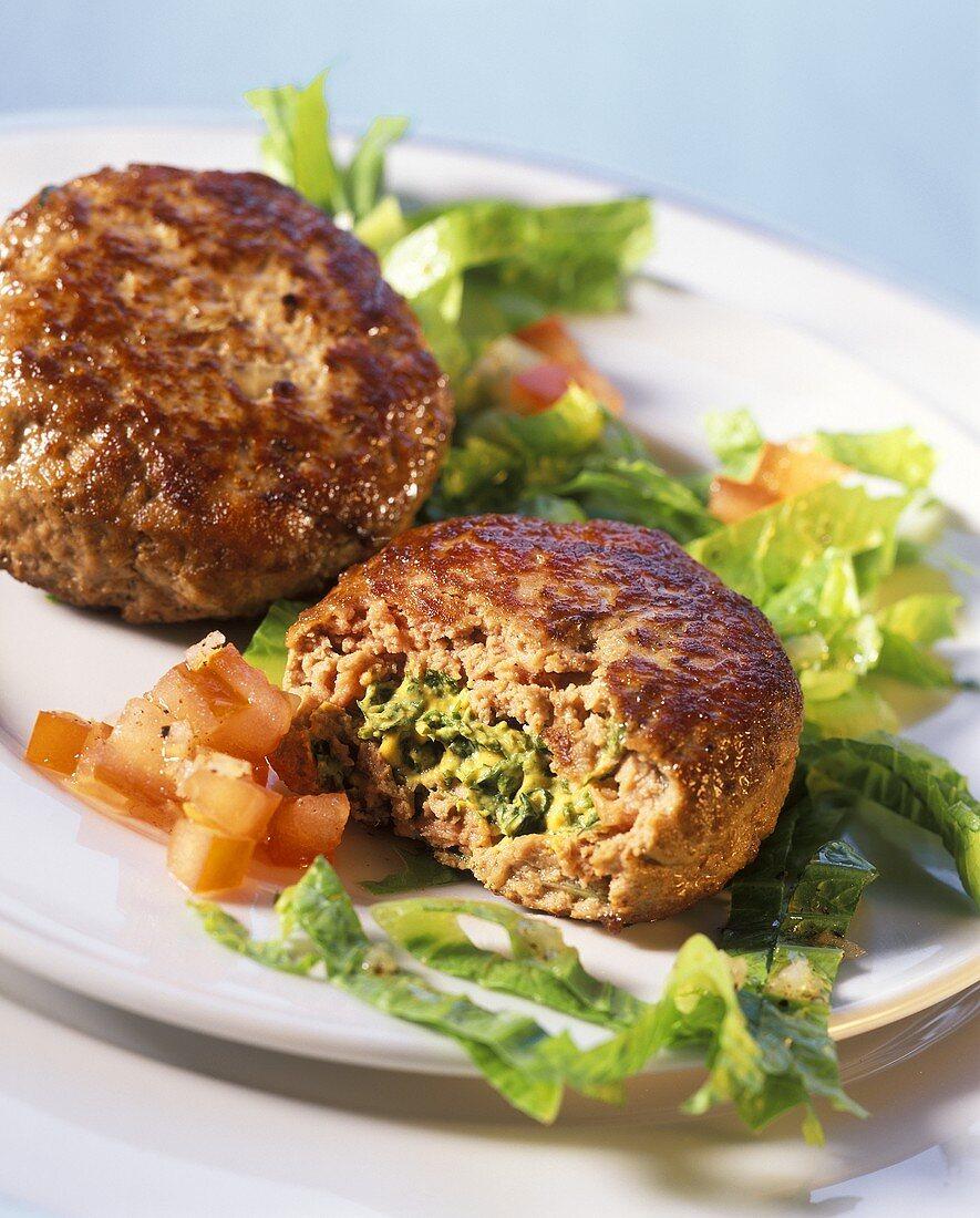 Quark balls with herb stuffing and salad garnish