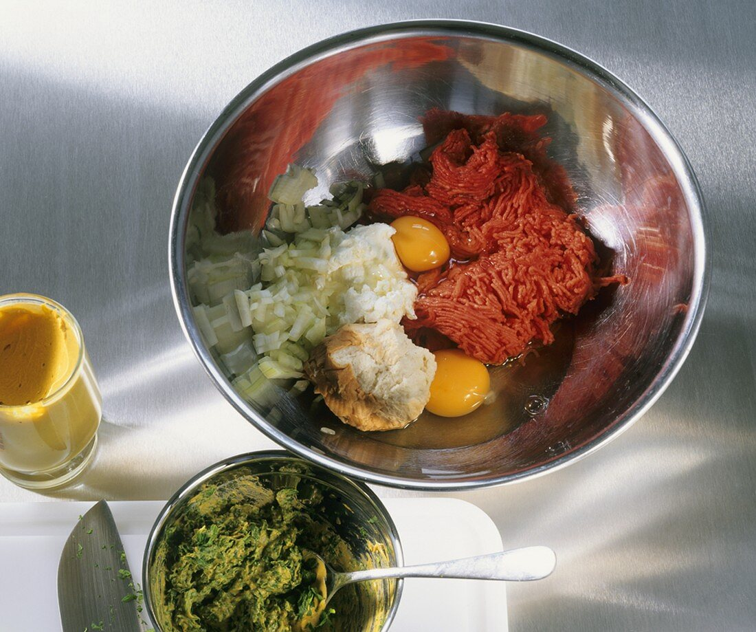 Making rissoles: ingredients in a bowl
