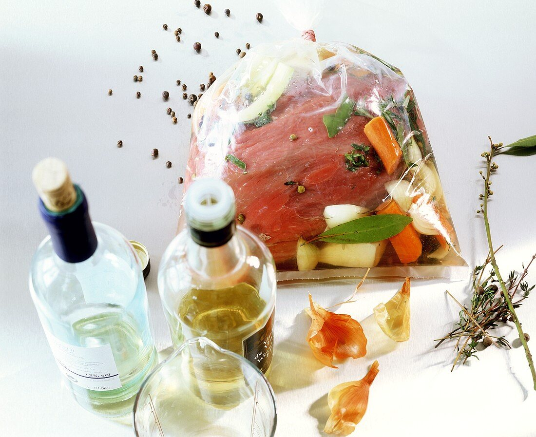 Marinating beef in freezing bag