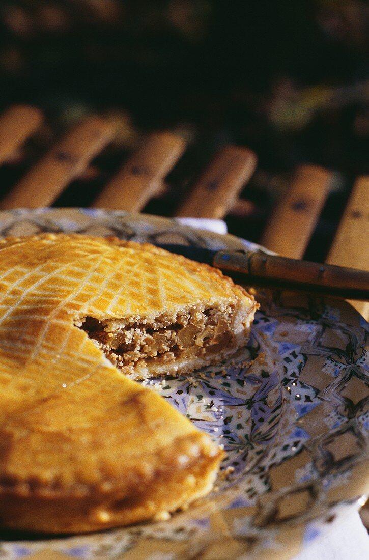 Engadin nut cake, a piece cut