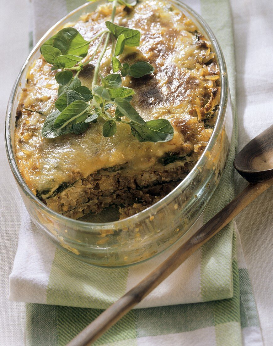 Rice bake with mince in glass baking dish