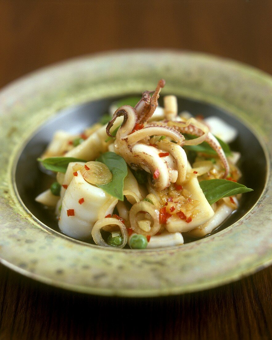Chili and cuttlefish salad with lemon leaves
