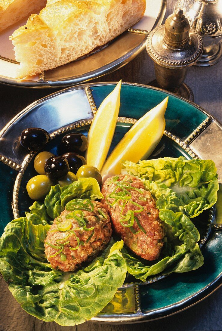 Middle Eastern lamb tartare with olives and flat bread