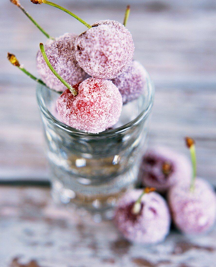 Sugared cherries in glass